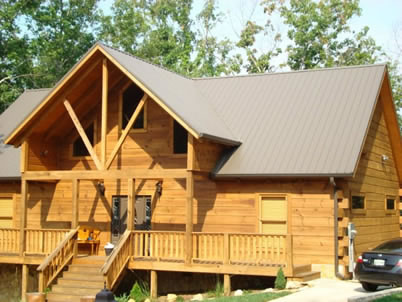 Tuff-Rib Galvalume Roof on Log Cabin